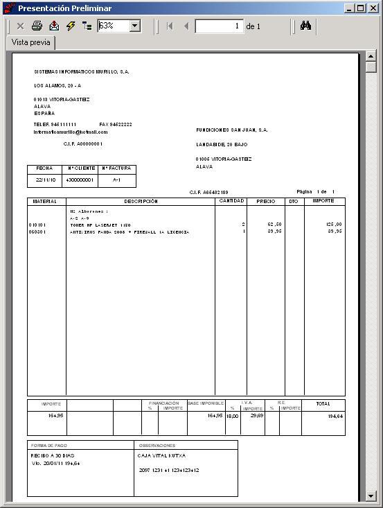 reimpresión de facturas