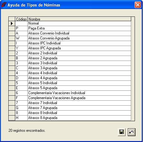 Formularios de ayuda for Tabla de nomina
