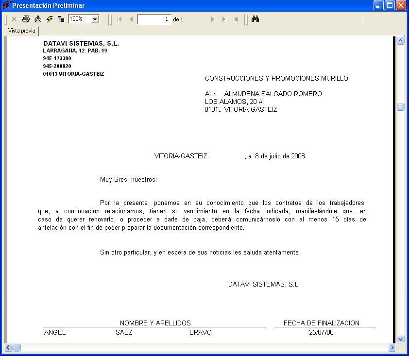 Carta Aviso Finalización de Contrato
