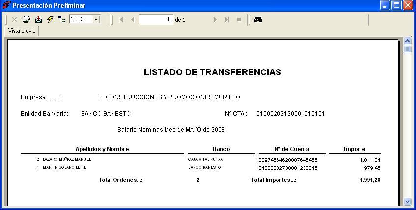 Listado de transferencia bancaria for Transferencia bancaria